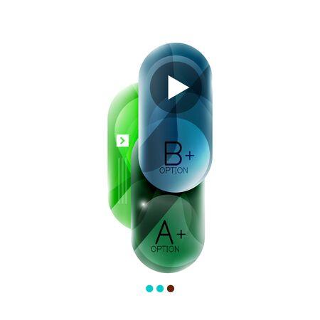 investigated: Capsule business option infographics. Vector presentation element