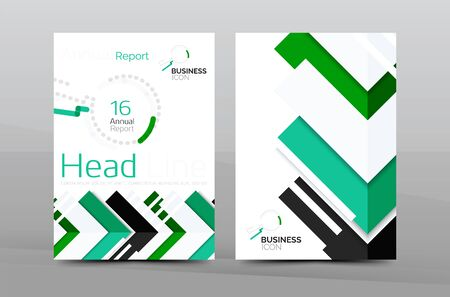 advert: Brochure template of annual report cover, vector business flyer layout, geometric abstract poster, A4 size