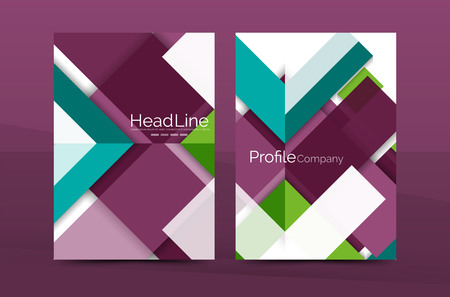 front page: Geometric a4 front page, business annual report print template, Correspondence letter with corporate identity design