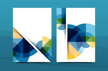 Colorful fresh business A4 cover template - flyer, brochure, book cover and annual report. Geometric design abstract background Vector Illustration