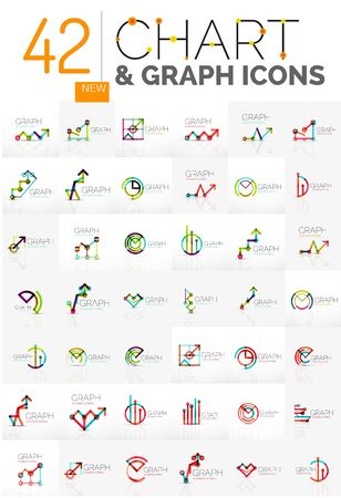 abstracts: Collection of linear abstracts - chart and graph icons - clean geometric symbols. Growing stats finance concepts, clean modern symbols. Branding company emblem ideas and branding business identity Illustration