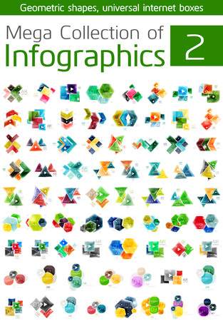 population growth: Mega collection of infographic templates - business icons for data, web banners with options and numbers, modern concepts