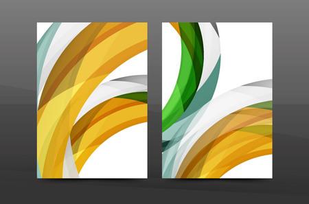 Plantilla de portada de informe anual de diseño de remolino colorido. Folleto, diseño de plantilla de volante, fondo abstracto de folleto de vector, página de tamaño A4