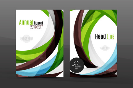 feathering: Colorful swirl design annual report cover template. Brochure, flyer template layout, vector leaflet abstract background, A4 size page