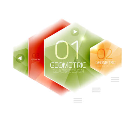 color design: Glass color hexagons. Glossy plastic hexagon design with text Illustration