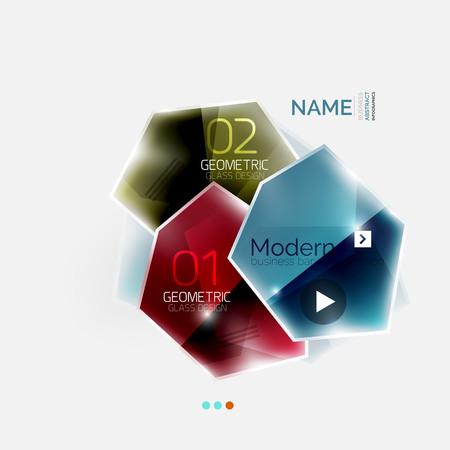 Brillant coloré affaires géométrique infographies abstraites modèle. Modèle Glossy style de verre avec le texte de l'échantillon - options et slogans