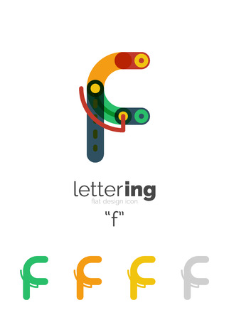 Alphabet letter font business icon. Company name concept. Flat thin line segments connected to each other. Stock fotó - 59604752