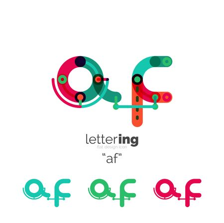 cross linked: Linear initial letters, branding concept, cartoon funny style