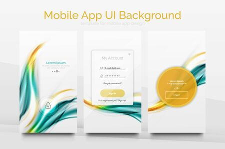 gui: Mobile application interface background, user interface - UI. Smartphone screen mockup gui - wave pattern