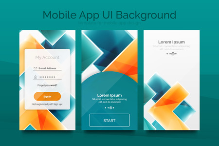 mobile website design: Mobile background ui - geometric abstract pattern. Application wallpaper blank layout