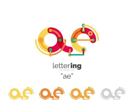 initial: Letter business linear icon on white background. Alphabet initial letters concept. Flat thin line segments connected to each other. Flat cartoon industrial wire or tube design of ABC typeface Illustration