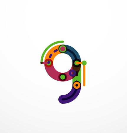 children s art: Colorful funny cartoon letter icon. Business icon design
