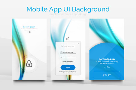thickness: Mobile application interface background, user interface - UI. Smartphone screen mockup gui - wave pattern