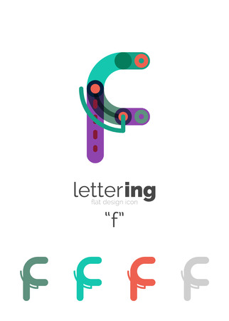 Alphabet letter font business icon. Company name concept. Flat thin line segments connected to each other. Stock fotó - 59845084