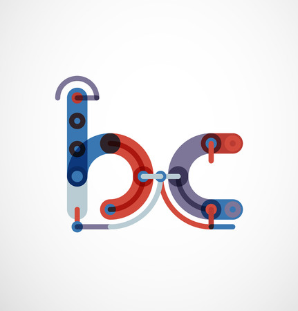 font design: Linear initial letters, logo branding concept, cartoon funny style