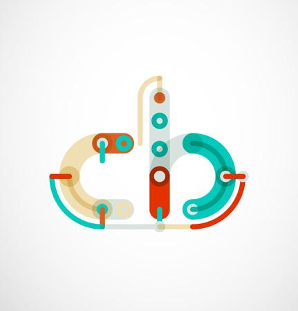 Kleurrijke grappige cartoon letter icon.