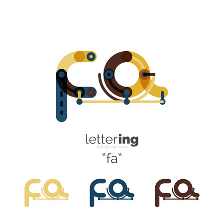 Alphabet letter font   business icon. Company name concept. Flat thin line segments connected to each other. Stock fotó - 59926602