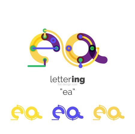 Alphabet letter font business icon. Company name concept. Flat thin line segments connected to each other. Illusztráció