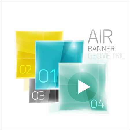 patch of light: Air glossy square composition, glass geometric elements with infographic sample text and buttons