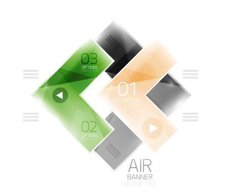 quadrate pictogram: Color glossy glass arrow banner. Vector Illustration