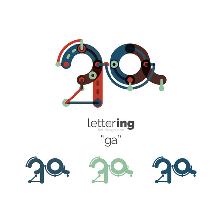 company name: Alphabet letter font business icon. Company name concept. Flat thin line segments connected to each other. Illustration
