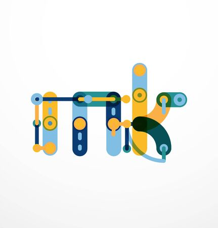 solid figure: Abstract line design letter created with colorful line segments