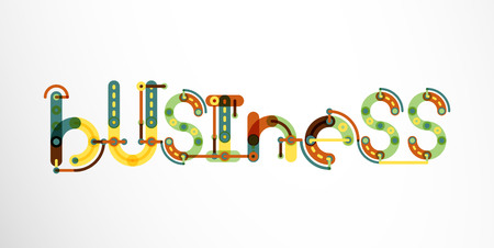 Business word lettering, wire minimalistic thin line design Illustration