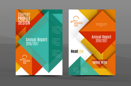 Squares And Triangles Annual Report Cover Template. Color Business ...