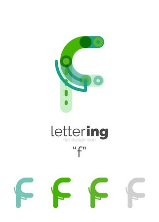 Linear initial letters branding concept, cartoon funny style
