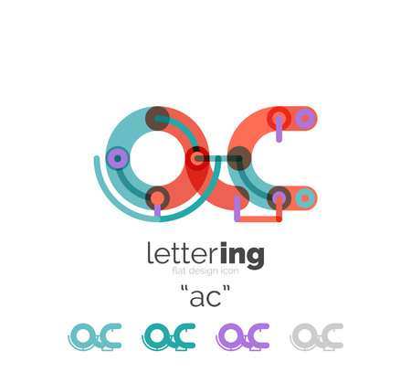 Letter line concept isolated on white. Connected color segments