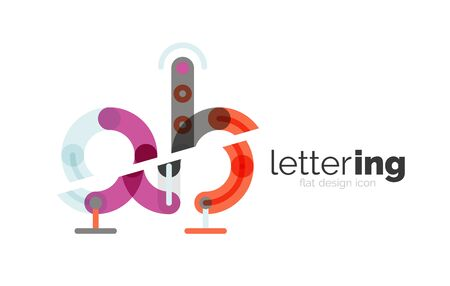 Linear business letter. Alphabet initial letters company name concept. Flat thin line segments connected to each other.