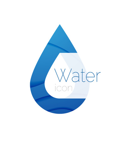 spring water: Minimal abstract droplet. Company identity label, pure spring water idea