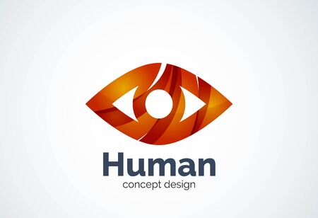 Abstract business company human eye template, sight or look concept - geometric minimal style, created with overlapping curve elements and waves. Corporate identity emblem Illustration