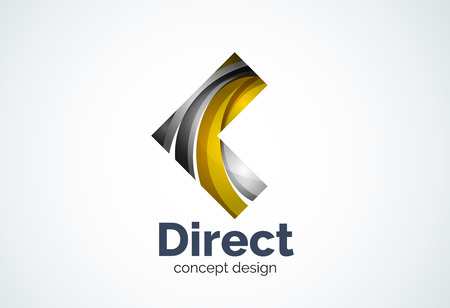 direct: Abstract business company arrow   template, direct concept - geometric minimal style, created with overlapping curve elements and waves. Corporate identity emblem