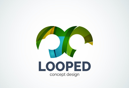 Abstract business company infinity  template, loops concept - geometric minimal style, created with overlapping curve elements and waves. Corporate identity emblem Illustration
