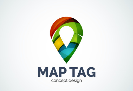 pointer emblem: Abstract business company map tag or locator template, navigation pointer concept - geometric minimal style, created with overlapping curve elements and waves. Corporate identity emblem