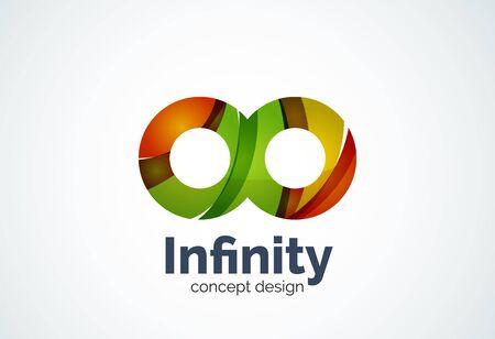 signo infinito: plantilla infinito resumen de la empresa de negocios, bucles concepto - geométrica estilo minimalista, creada con la superposición de elementos de la curva y las olas. emblema de la identidad corporativa