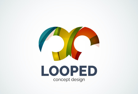 loops: Abstract business company infinity template, loops concept - geometric minimal style, created with overlapping curve elements and waves. Corporate identity emblem
