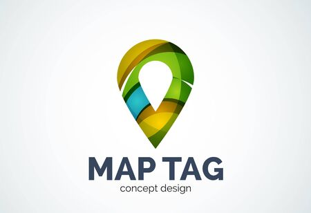 Abstract business company map tag or locator   template, navigation pointer concept - geometric minimal style, created with overlapping curve elements and waves. Corporate identity emblem Illustration