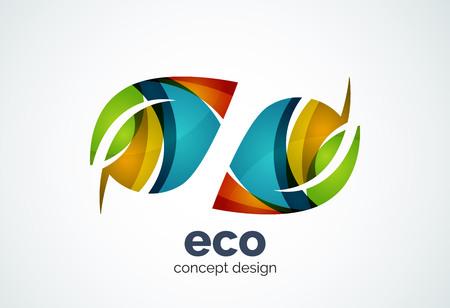 Zusammenfassung Business-Unternehmen Blatt Vorlage, grünes Konzept - geometrischen minimalen Stil, mit überlappenden Kurvenelementen und Wellen erstellt. Corporate Identity Emblem