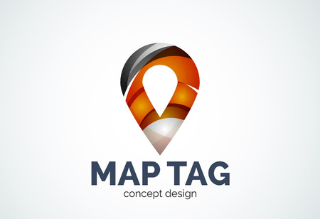 locator: Abstract business company map tag or locator   template, navigation pointer concept - geometric minimal style, created with overlapping curve elements and waves. Corporate identity emblem Illustration
