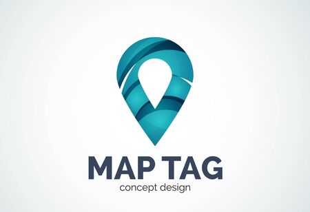 pointer emblem: Abstract business company map tag or locator   template, navigation pointer concept - geometric minimal style, created with overlapping curve elements and waves. Corporate identity emblem Illustration
