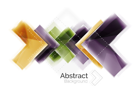 Arrow background. Vector web brochure, internet flyer, wallpaper or cover poster design. Geometric style, colorful realistic glossy arrow shapes with copyspace. Directional idea banner
