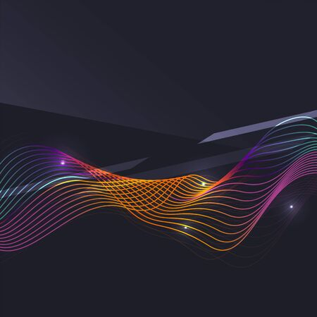 abstract fire: Smoke pattern on dark background. Colorful blending lines with shiny effects, business or hi-tech minimal message presentation template