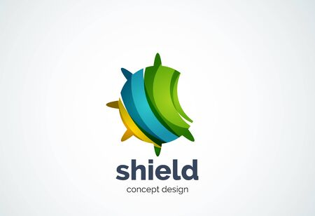 security company: Round shield template, security or safe concept - geometric minimal style, created with overlapping curve elements and waves. Corporate identity emblem, abstract business company branding element