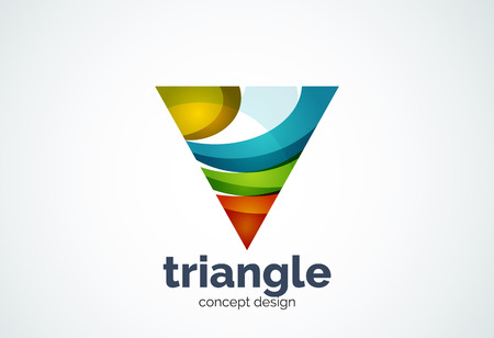 Triangle template, triple cycle or pyramid concept - geometric minimal style, created with overlapping curve elements and waves. Corporate identity emblem, abstract business company branding element