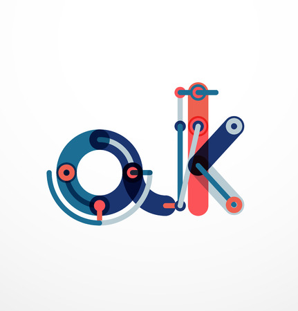 solid figure: Abstract line design letter with colorful line segments Vettoriali