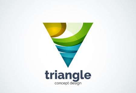 triple: Triangle template, triple cycle or pyramid concept - geometric minimal style, created with overlapping curve elements and waves. Corporate identity emblem, abstract business company branding element