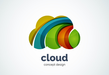 Cloud   template, remote hard drive storage or weather concept - geometric minimal style, created with overlapping curve elements and waves. Corporate identity emblem, abstract business company branding element