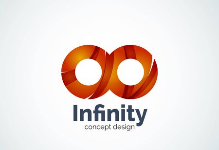 Abstract business company infinity template, loops concept - geometric minimal style, created with overlapping curve elements and waves. Corporate identity emblem